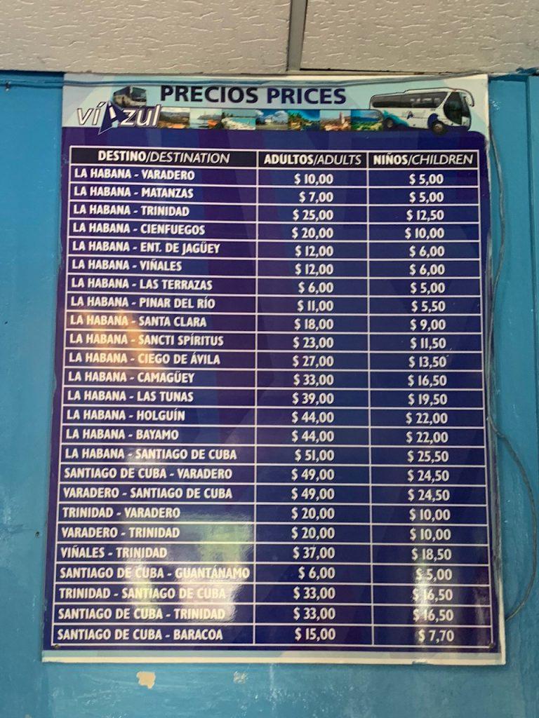 Prijzen Viazul Cuba